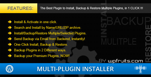 Multi Plugin Installer - Plugin backup and restore