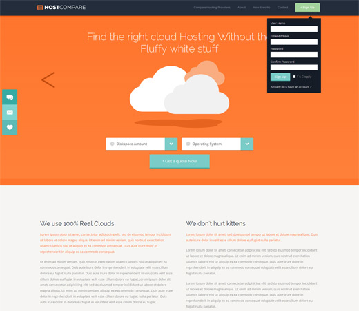 Hostcompare cloud hosting Flat Responsive Mobile website template