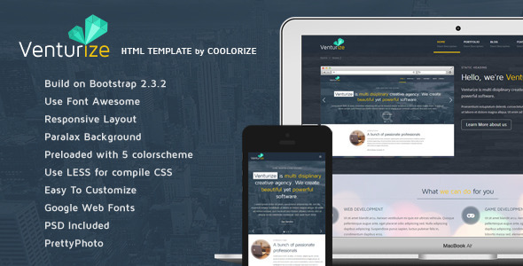 Venturize Bootstrap Responsive HTML Template