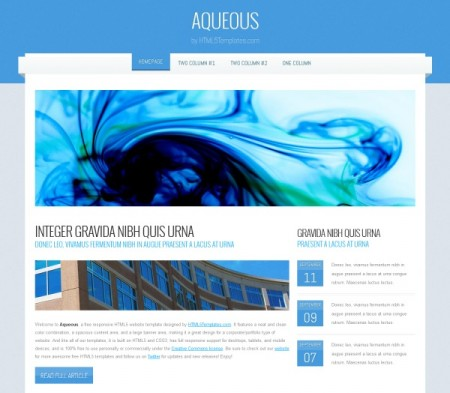 free html5 website templates free download aqueous - Html Templates Free Download