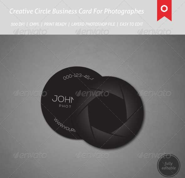 creative circle business cards for photographers