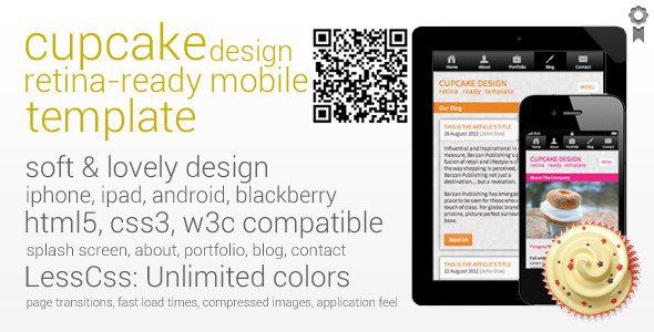 Cupcake Retina-Ready Mobile Template