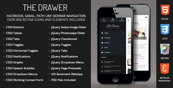 Drawer Mobile RetinaHTML5CSS3 And iWebApp