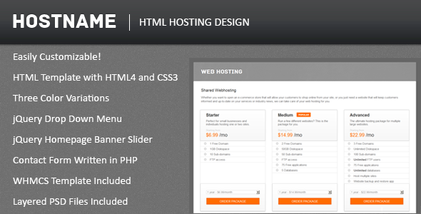 Hostname Web Hosting VPS Dedicated Server Template