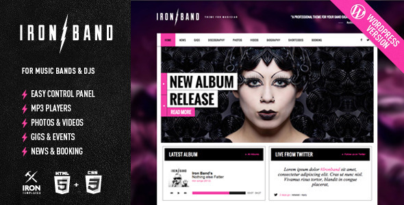 IronBand - Responsive Music & DJ WordPress Theme