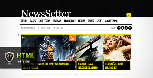 NewsSetter - News-Technology-Reviews HTML Theme