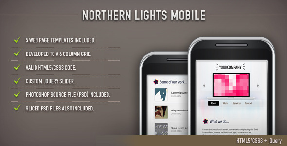 Northern Lights HTML Template (Mobile)