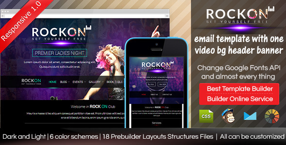 rockon responsive email template with builder