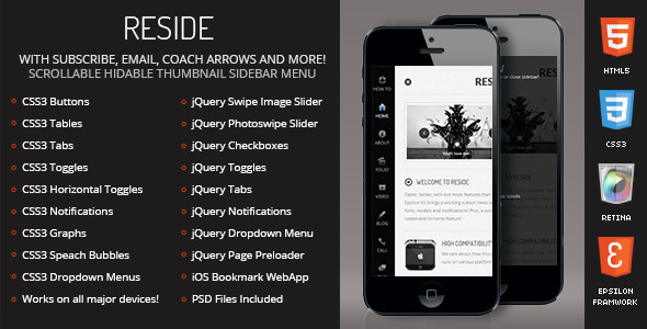 Reside Mobile Retina-HTML5-CSS3 And iWebApp