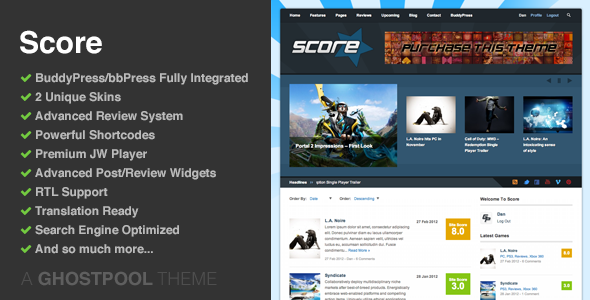 Score-Review WordPress & BuddyPress Theme