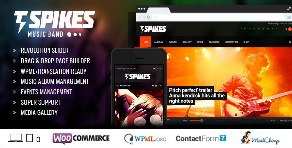 Spikes - Music Band WordPress Theme