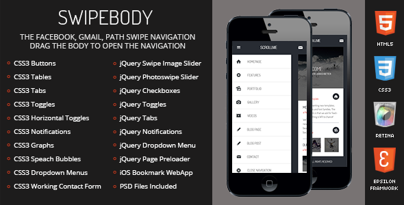 Swipebody Mobile Retina-HTML5-CSS3 And iWebApp