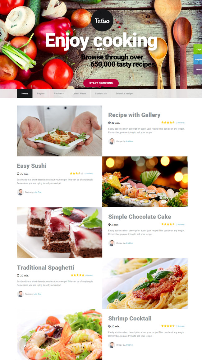 40 best food and recipe wordpress themes 2016 designmaz talisa food recipes wordpress theme forumfinder Image collections