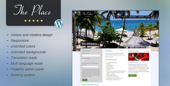 The Place - Hotel WordPress Theme
