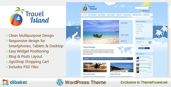 Travel Island-Responsive JigoShop e-Commerce WordPress Theme