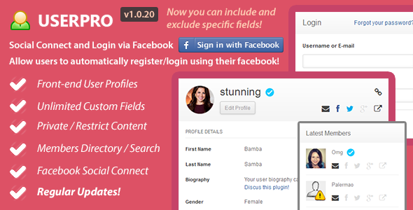 UserPro-User Profiles with Social Login