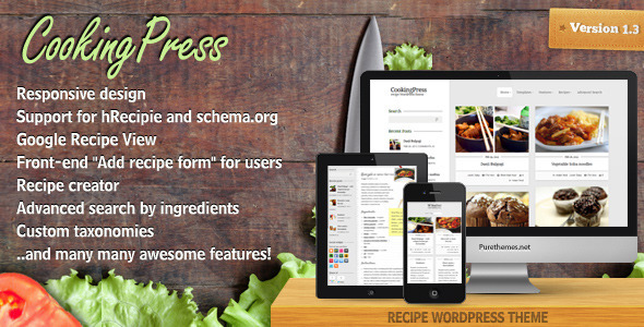 40 best food and recipe wordpress themes 2016 designmaz cookingpress recipe food wordpress theme forumfinder Choice Image