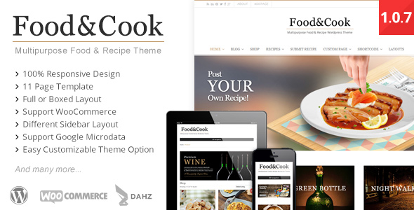 40 best food and recipe wordpress themes 2016 designmaz food cook multipurpose food recipe wp theme forumfinder Choice Image