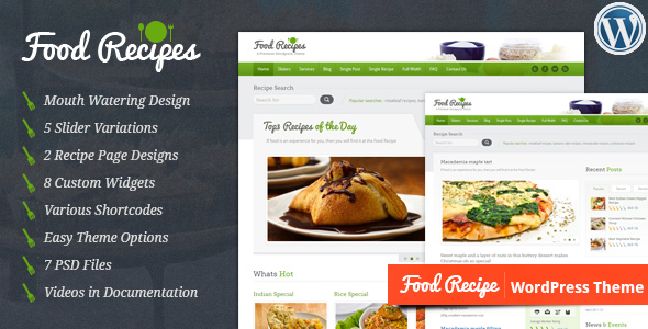 40 best food and recipe wordpress themes 2016 designmaz food recipes wordpress theme forumfinder Choice Image