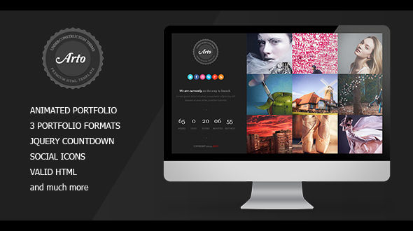 Arto Underconstruction Template with Stylish Portfolio