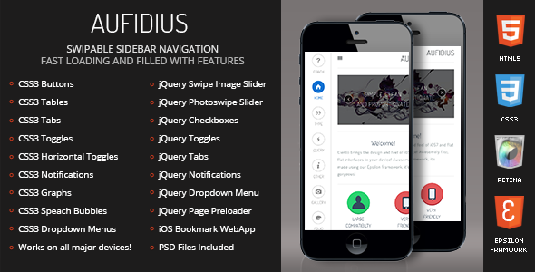 Aufidius Mobile Retina-HTML5-CSS3 And iWebApp
