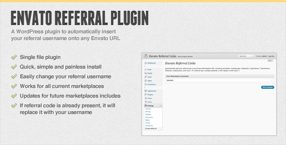 Automatic Envato Referral URL WordPress Plugin
