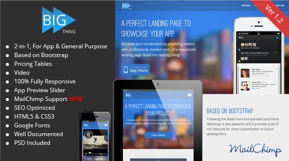 BIG Thing – Responsive App & General Landing Page