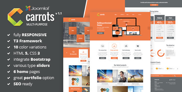 Carrots - Multipurpose Joomla Template