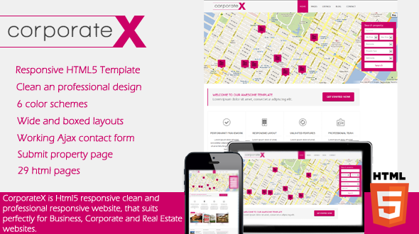 CorporateX–Real Estate-Corporate HTML5 Template