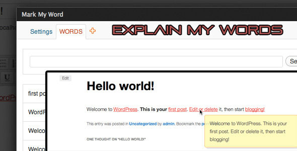 Explain My Words WordPress Plugin