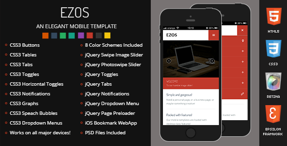 Ezos Mobile Retina-HTML5-CSS3 And iWebApp