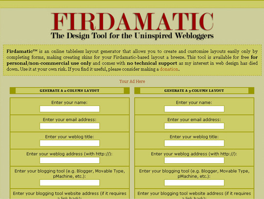 Firdamatic-the Design Tool for the Uninspired Webloggers