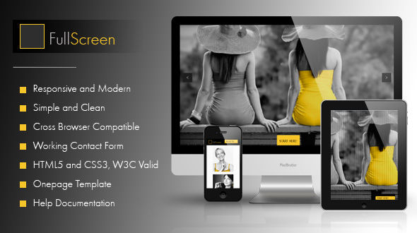 FullScreen–OnePage Responsive HTML Clean and Unique Template