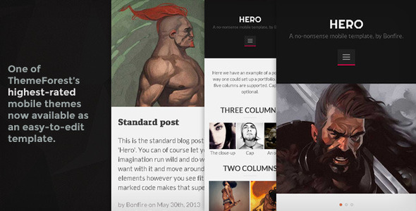 HERO-a retina-ready HTML5-CSS3 mobile template