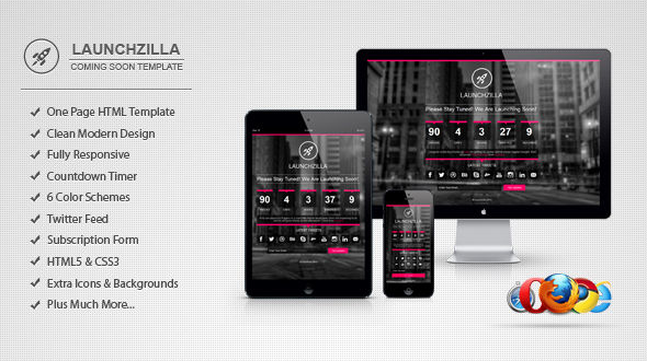 Launchzilla – Responsive Coming Soon HTML Template