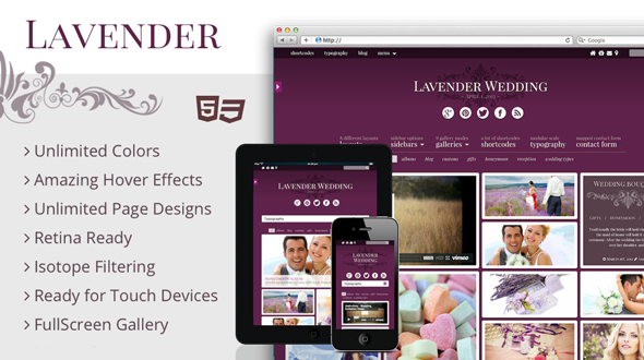 Lavender – Photography-Wedding Retina Theme