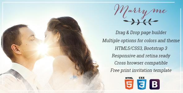 Marry Me - Elegant WordPress wedding & celebration