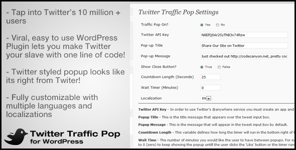 Twitter Traffic Pop for WordPress