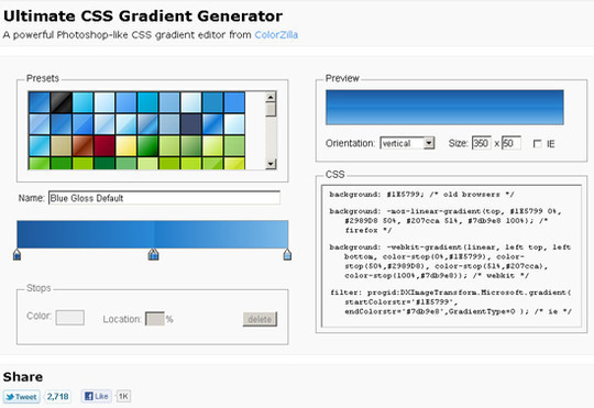 Ultimate CSS Gradient Generator by ColorZilla