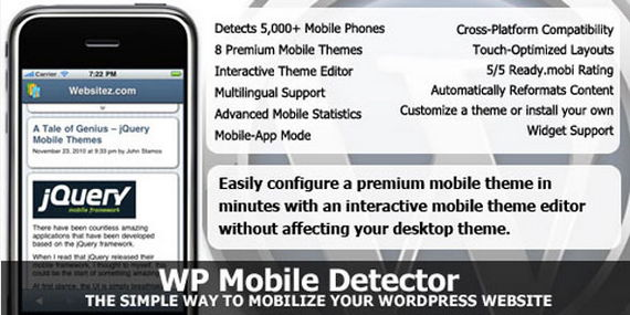 WP Mobile Detector - WordPress mobile plugins