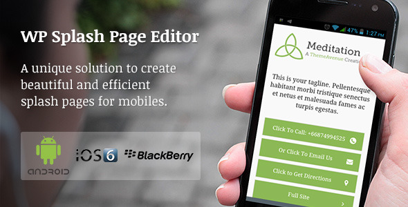 WP Mobile Splash Page Editor