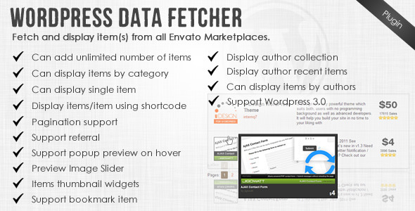 Wordpress Data Fetcher - WP Plugin
