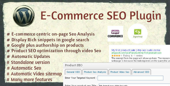 Wordpress E-Commerce Seo Plugin