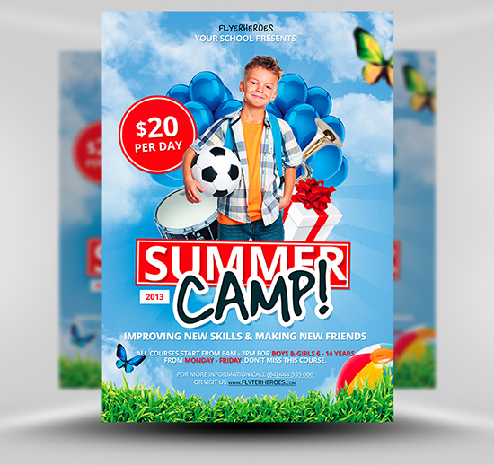 best flyer psd templates designmaz summer camp flyer template