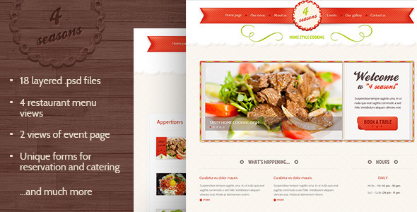 4 Seasons - Restaurant & Cafe PSD Template