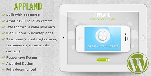 AppLand - Parallax App Landing WordPress Theme