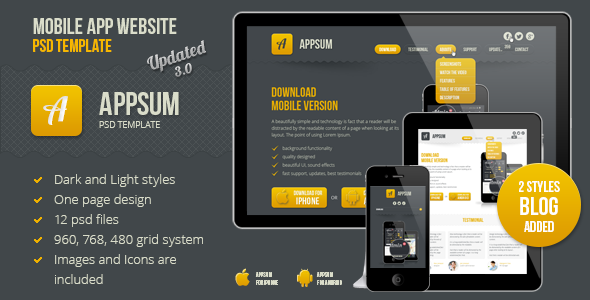 Appsum - OnePage Mobile APP PSD Template