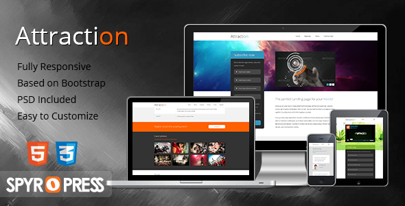Attraction Responsive WordPress Landing Page