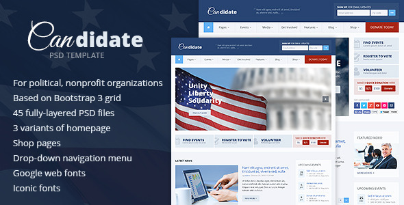 Candidate - Political - Nonprofit PSD Template