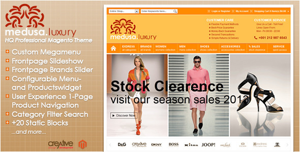 Exdress-Medusa Luxury Fashion Store Magento Theme